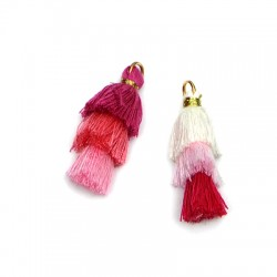 Synthetic Triple Tassel With Ring ~35mm