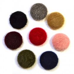 Fur Flat Back Button 30mm