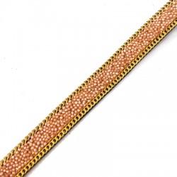 Fettuccia di Cuoio Artificiale effetto Caviale e Catena 10mm (~2mtr/bobina)