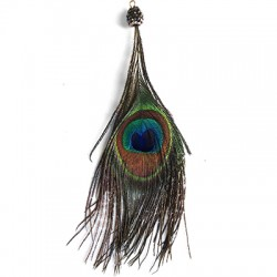 Peacock Feather w/ Rhinestone Cup 150mm