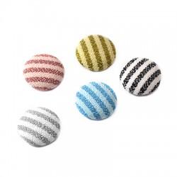 Fabric Round Button Stripes 15mm