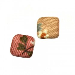 Fabric Button Square with Flower Patterns 13mm