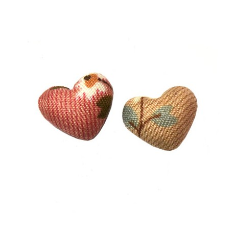 Fabric Button Heart with Flower Patterns 17x15mm