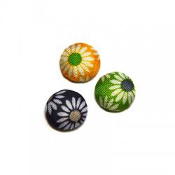 Bottone di Stoffa Rotondo con Fiori 15mm