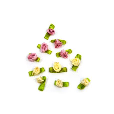 Υφασμάτινο Λουλούδι και Φύλλα (~10mm)