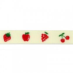 Κορδέλα Συνθετική Γκρο με Φρούτα 12mm