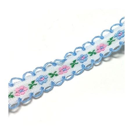 Lacet en Cotton avec Fleurs 12mm (~10m/sac)