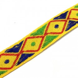Polyester Ribbon Ethnic with Rhombus 20mm (~5yards/pack)