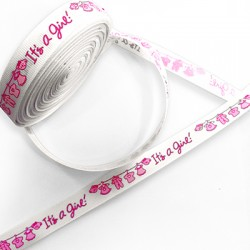 Ribbon Polyester 'It's a Girl' 15mm (20yards/pack)