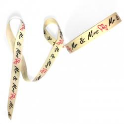 Ribbon Polyester 'Mr & Mrs' 16mm (20yards/pack)