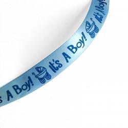"Ribbon Polyester ""It's a boy"" 15mm (~10yards/spool)"
