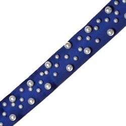 Polyester Ribbon w/ Pearls 30mm (~2yards/pack)
