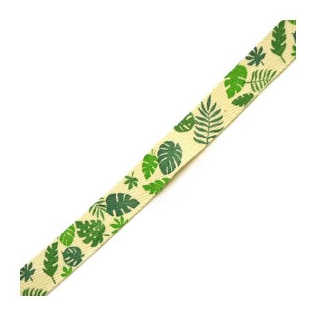 Κορδέλα Βαμβακερή με Φύλλα 15mm (10μέτρα/πακέτο)