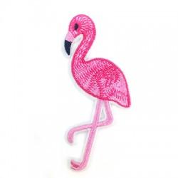 Flamingo en tissu avec colle haute température 30x68mm