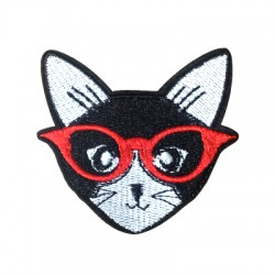 Applicazione Termoadesiva di Tela Testa di Gatto con Occhiali 61x60mm