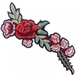 Application thérmo-adhésive branches de roses en tissu 260mm