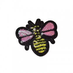 Υφασμάτινο Στοιχείο Θερμοκολλητικό Μέλισσα με Παγιέτα (~75x70mm)