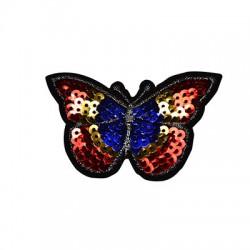 Pezza di Stoffa Termoadesiva Farfalla con Paillettes ~80x50mm