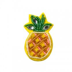 Applicazione di Stoffa con Perline Ananas ~35x60mm