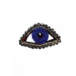 Applicazione di Stoffa con Perline Occhio Portafortuna ~67x43mm