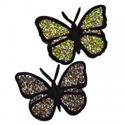 Pezza di Stoffa Termoadesiva Farfalla con Paillettes ~90x65mm