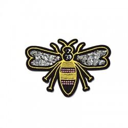 Υφασμάτινο Στοιχείο Θερμοκολλητικό Μέλισσα με Στρας (~101x72mm)