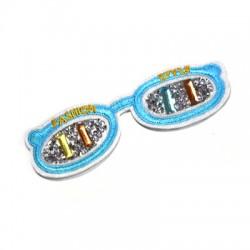 """Υφασμάτινο Στοιχείο Θερμοκολλητικό Γυαλιά με Στρας """"FASHION STYLE"""" (~118x39mm)"""