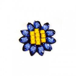 Υφασμάτινο Στοιχείο Λουλούδι με Χάντρες (~35mm)