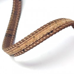 Cork Cord Flat Stitched 10mm