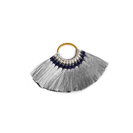 Metal Ring Pendant With Silk Mini Tassels ~55x78mm