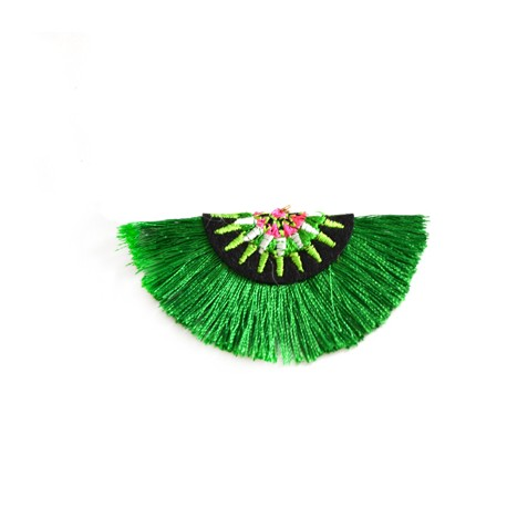 Metal Ring Pendant With Fringe ~71x39mm
