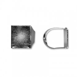 Anello Regolabile in Ottone con Base Quadrata 20x18mm
