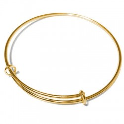 Brass Adjustable Bangle 70mm (1.8mm Wire) with 2 Rings