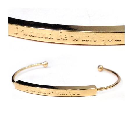 Brass Adjustable Bracelet ECO 60mm 'I wanna be with you'