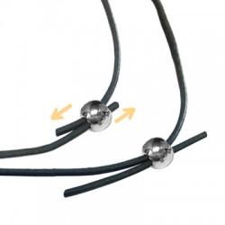 Perle Embout en Métal/Laiton 5mm pour 2 cordons de 1mm
