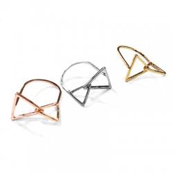Anello in Ottone con due Triangoli 19x26mm