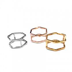 Brass Ring Hexagon 22x13mm