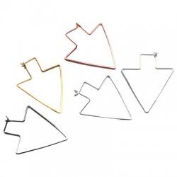 Brass Earring Arrow 37x46mm