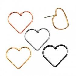 Brass Earring Heart 18x17mm