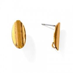 Brass Earring Oval 9x18mm