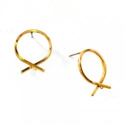 Brass Earring Round 18x20mm