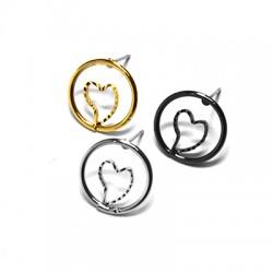 Brass Earring Circle Heart 15mm