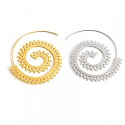 Brass Earring Hoop Spiral 45mm