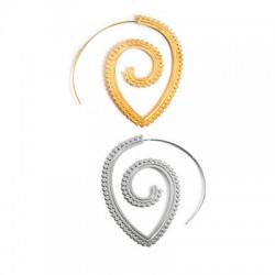 Brass Earring Hoop Spiral 60mm