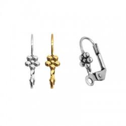 Brass Earring Hoop Flower 9.5x18mm