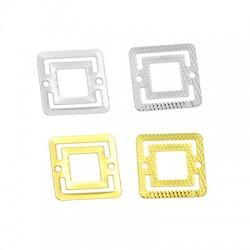 Μεταλλικό Μπρούτζινο Στοιχείο Τετράγωνο για Μακραμέ 16mm