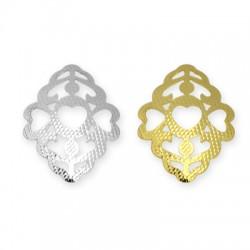 Brass Pendant Rhombus Heart Filigree 19x27mm
