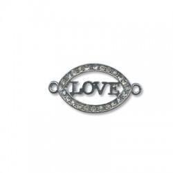 """Μεταλλικό Στοιχείο Οβάλ """"LOVE"""" με Στρας για Μακραμέ 36x20mm"""