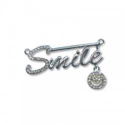 """Μεταλλικό Στοιχείο """"SMILE"""" με Στρας και 2 Κρίκους 44x15mm"""