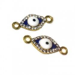 Rhinestone Oval Eye 8x20mm W/ 2 Rings